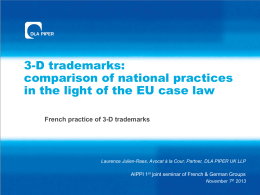 3-D trademarks: comparison of national practices in the light