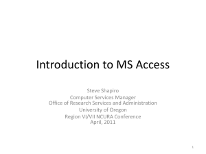 Introduction to MS Access - Grant and Research Development