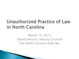 Unauthorized Practice of Law NC