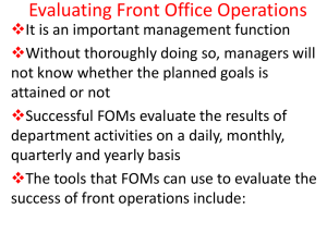 Evaluating Front Office Operations
