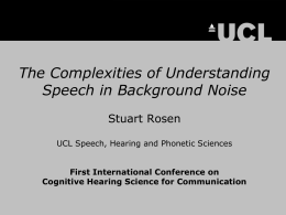 The Complexities of Understanding Speech in Background Noise.