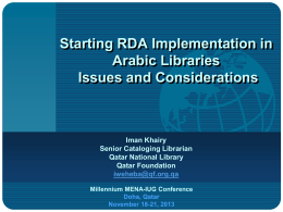 Starting RDA Implementation in Arabic Libraries - MENA-IUG