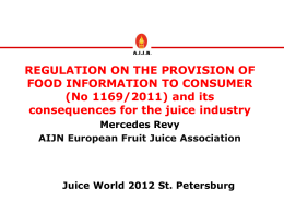 REGULATION ON THE PROVISION OF FOOD INFORMATION TO