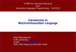 Introduction to Machine/Assembler Language