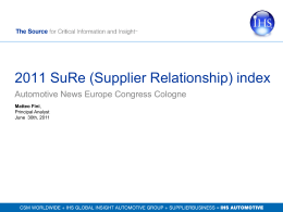 index2011 Supplier Relations (SuRe) index