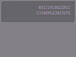 RECOGNIZING COMPLEMENTS - Madison County Schools