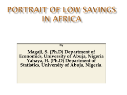 PORTRAIT OF LOW SAVINGS IN AFRICA