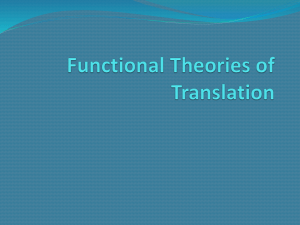 Functional Theories of Translation