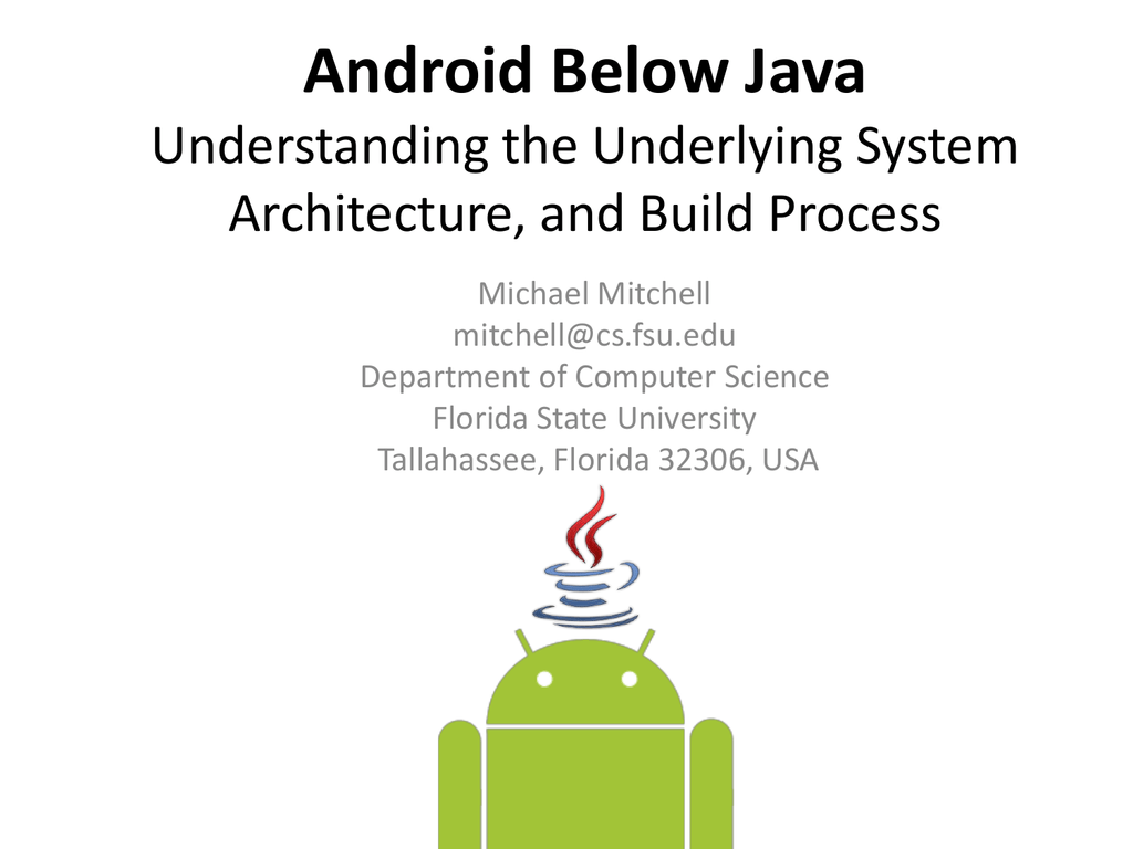 Android Below Java Fsu Computer Science