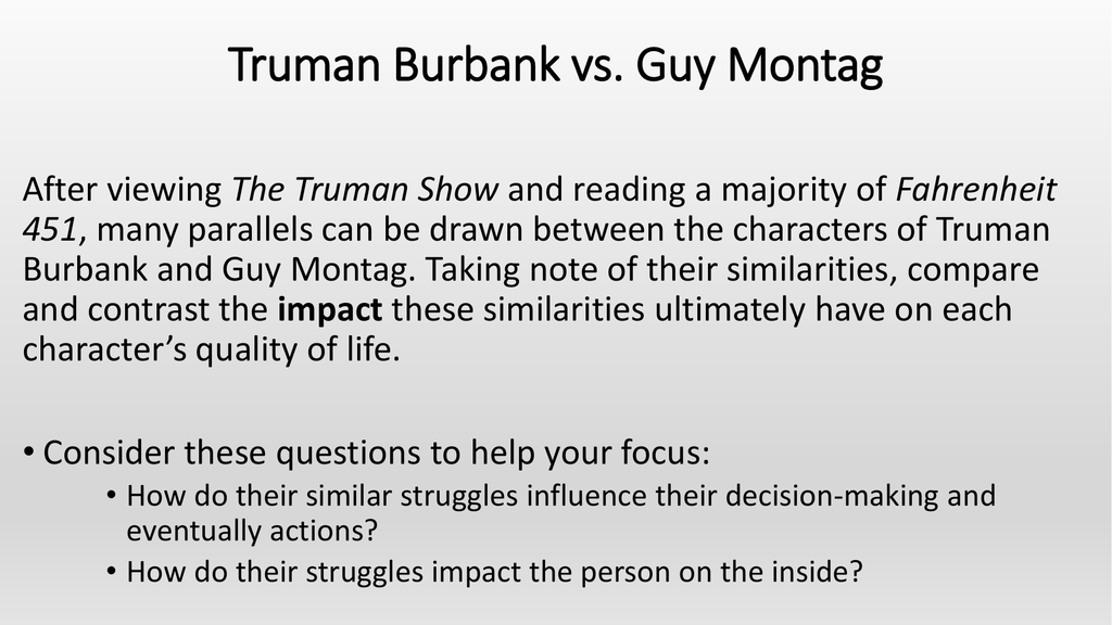 writing prompt truman burbank vs guy montag