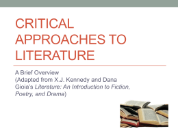 Critical Approaches to Literature - English