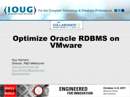 Optimize Oracle on VMWare - Guy Harrison