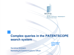 PPT, The PATENTSCOPE Search System