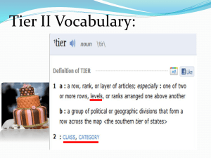 Vocabulary Tier II