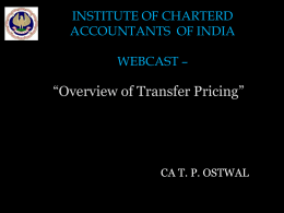 Transfer Pricing Regulations in India * An Overview