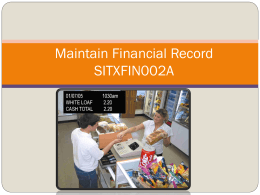 Front Office/Maintain Financial Records