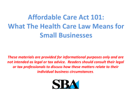 Business Insurance - Affordable Care Act