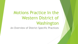 Motions Practice In the Western District of Washington