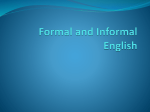 Formal and Informal English PowerPoint