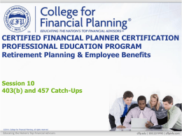 403(b) Catch-Up Contributions - College for Financial Planning