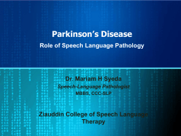 RoleSpeechPathology_PD - Pakistan Parkinson`s Society