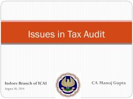 Tax Audit 30-08-2014 - Indore