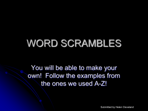 WORD SCRAMBLES - The Science Spot