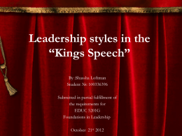 Leadership in the *Kings Speech*