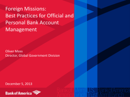 The Foreign Missions Business at Bank of America