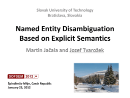 Named Entity Disambiguation Based on Explicit Semantics