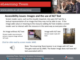 Images and the use of ALT text