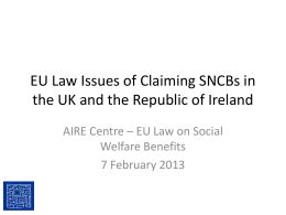 EU Law Issues of Claiming SNCBs in the UK and