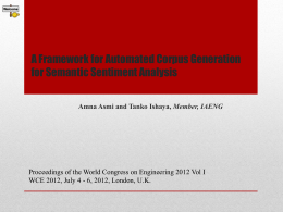 A Framework for Automated Corpus Generation for Semantic