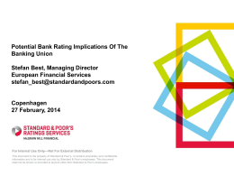 Western European Bank Ratings And Outlook Banking Union