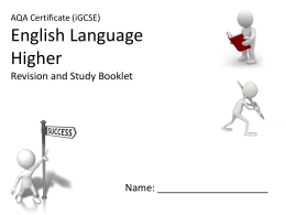 iGCSE English Language Revision and Study Booklet