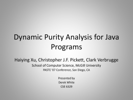 Dynamic Purity Analysis for Java Programs