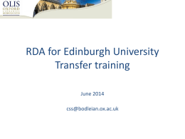 RDA for OLIS cataloguers Transfer training