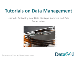 Data Protection and Backups