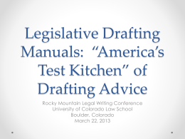 Legislative Drafting Manuals: *America*s Test