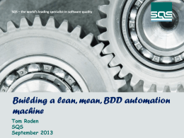 Tom Roden: Building a lean mean BDD
