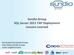 Sundio Group SQL Server 2012 TAP Deployment