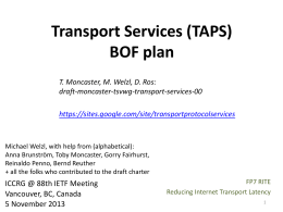 Transport Services (TAPS) BOF plan