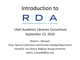 RDA catalog display - Byu - Brigham Young University