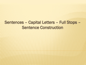 Sentences – Capital Letters – Full Stops