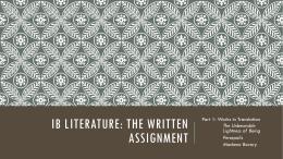 Ib Literature: The Written Assignment