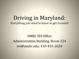 Driving in Maryland: - International Education Services