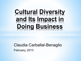 Cultural Diversity and Its Impact in Doing Business Index