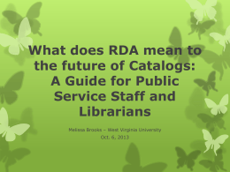 RDA - West Virginia Library Association