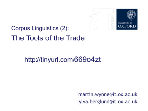 Corpus Linguistics: session 2