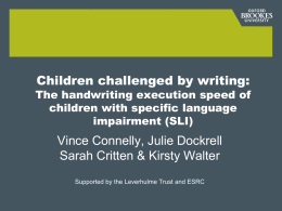 Handwriting skill in children with specific language impairment